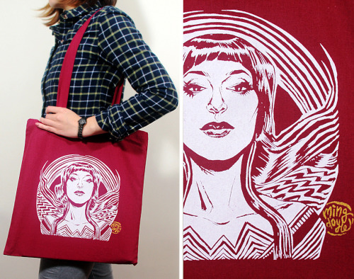 Wonder Motif Tote Bag, by Ming Doyle, $10 A stellar tote bag ranks pretty high on my list of convention essentials*, so it's no surprise that Ming Doyle's Wonder Motif Tote Bag (featuring a stylish take on Wonder Woman) is totes on my to-buy list. *Side note: I really ought to highlight some of my con essentials in a future post…