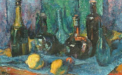 Alfred Aaron Wolmark Still Life with Bottles and Lemons 1950