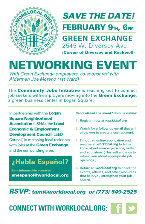 Green Exchange JOBS— Come to this networking event, at the Green Exchange, on February 9 at 6 p.m. More information at worklocal.org