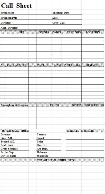 Getting Into More Detail About What Call Sheets Call Sheet – Call Sheet Example