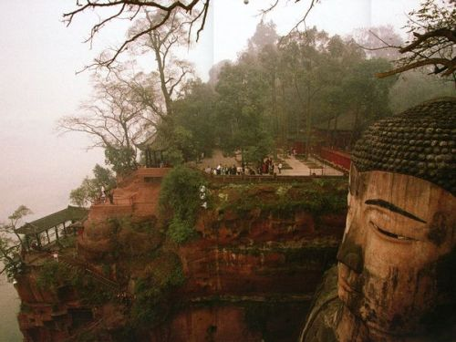 The largest buddha in the world in the city of Leshan, Sichuan Province.