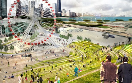 sick landscaping and contours. chicago's navy pier competition submission by AECOM & BIG (short list of 5)