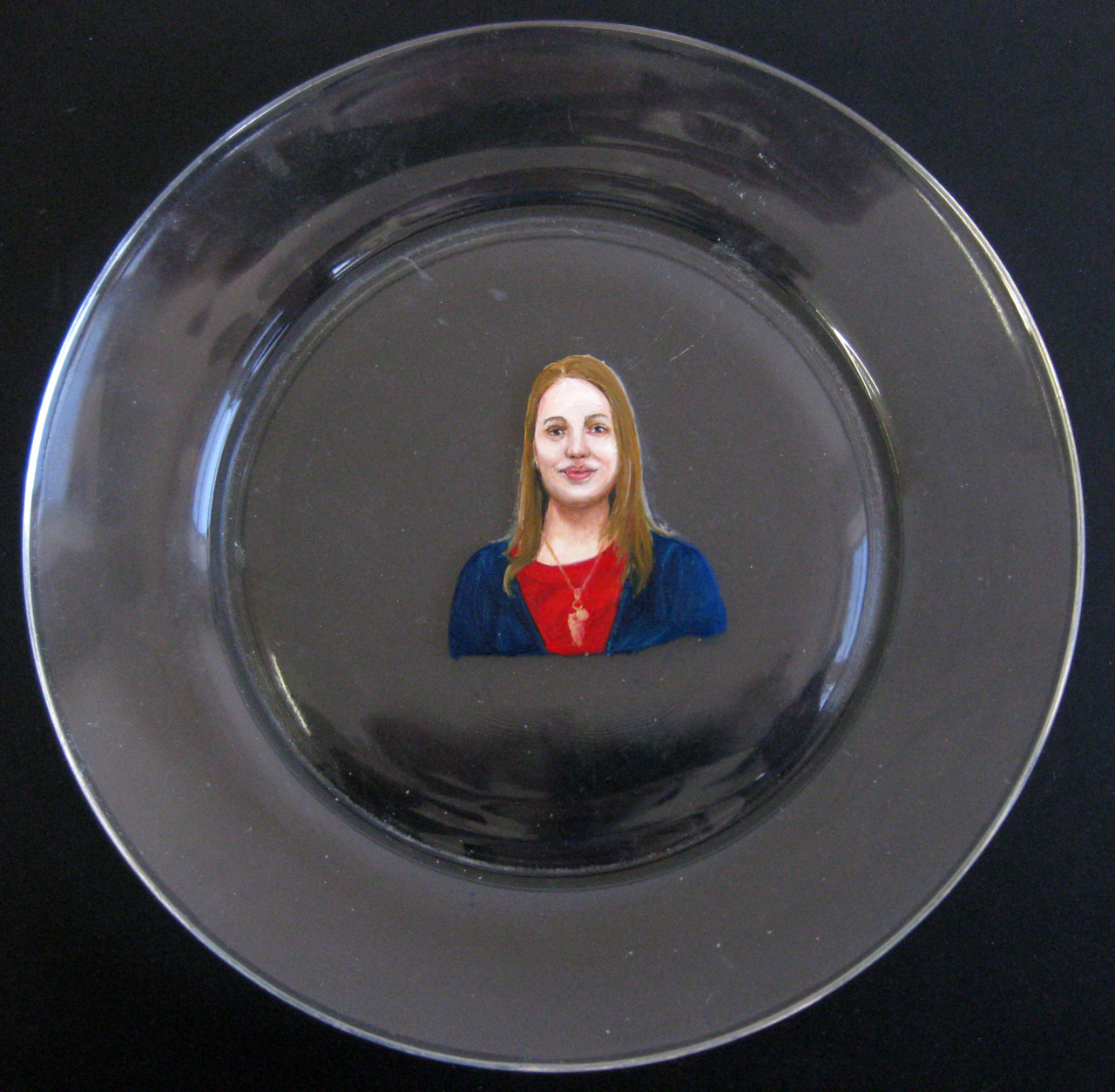 Portrait on a clear plate. (It's on both sides and unfinished.)