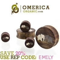 awfulmodifications:  Want 20% off Omerica Organic? Use the code 'EMILY' and get 20% off every order ever!  These plugs make me want to stretch my ears. Badly.