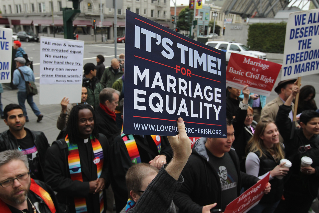 California gay marriage ban unconstitutional, court rulesA U.S. appeals court on Tuesday found California's gay marriage ban unconstitutional in a case that is likely to lead to a showdown on the issue in the Supreme Court.The split 2-1 decision from the 9th U.S. Circuit Court of Appeals featured two Democratically appointed judges voting in favor of striking down the ban, while a Republican judge dissented.California joined the vast majority of states in outlawing same-sex marriage in 2008, when voters passed the ban known as Proposition 8. (Photo: Justin Sullivan/Getty Images)