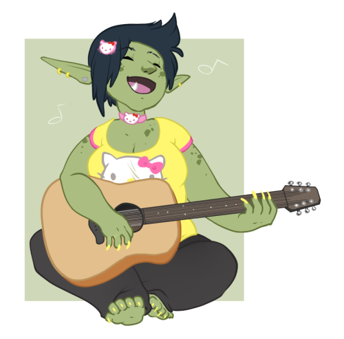 rednumbernine:   Buxom goblin girl who wears nerdy accessories and needs acoustic  Just a doodle this time. I imagine she's singing the tune to My Melody ' u'