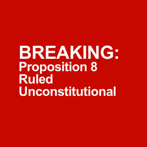 equalitopia:  BREAKING: Proposition 8 Ruled Unconstitutional Proposition 8 was ruled unconstitutional on Tuesday by a San Francisco appeals court, according to Reuters. The three-judge panel ruled 2-1 that Proposition 8 was a violation of the rights of gays and lesbians. According to the report, a stay has been in place and gay marriages will not resume until the deadline passes for Proposition 8 sponsors to appeal.