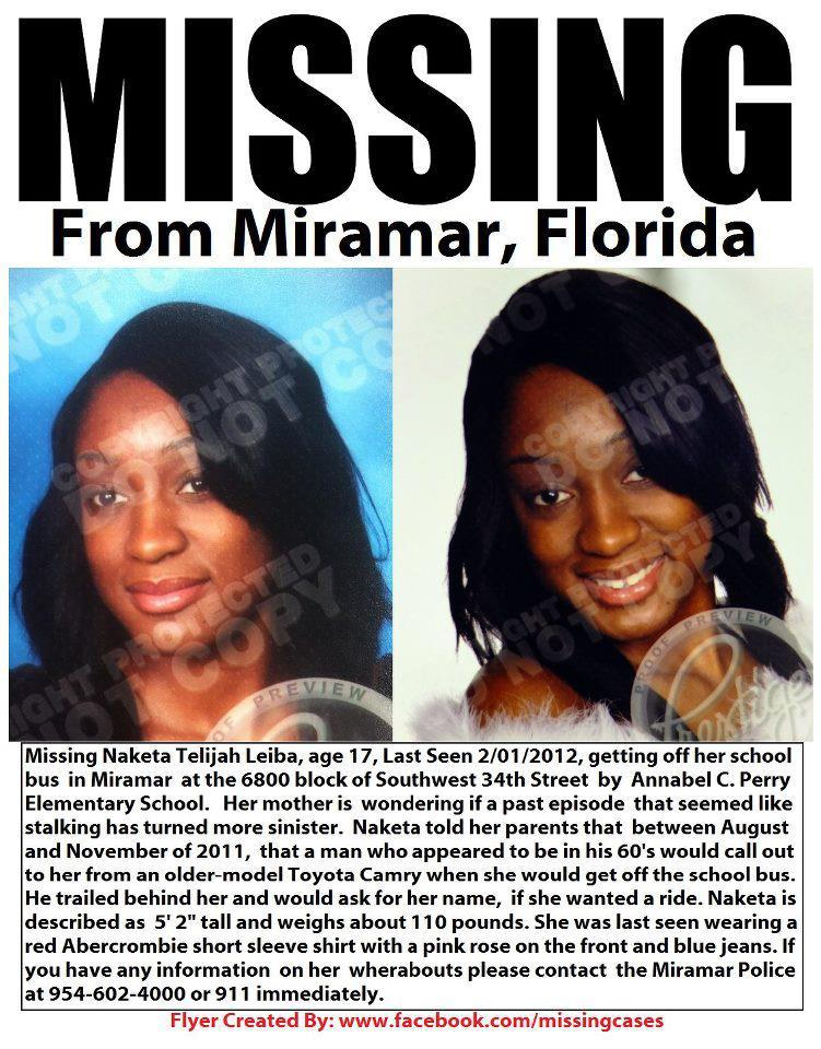 tifanmkreyol:  This girl went missing in my city. Those of you in the South Florida area, please keep an eye out for her or anything suspicious. If you aren't in the area, please pass it on anyway. The media won't do it, so it's up to us.