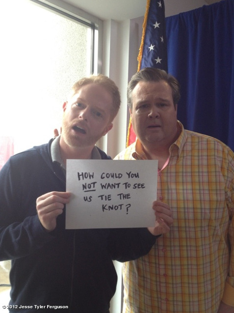 gaywrites:  From Jesse Tyler Ferguson's Twitter. So cute.   Love this show and this couple!!!