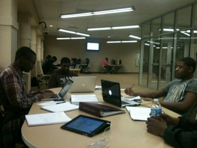 Just a regular day in the library studying with some 3rd floor residents. (Nassar Omar & Maleek Telesford) The grind doesn't stop in Du Beta Psi!!