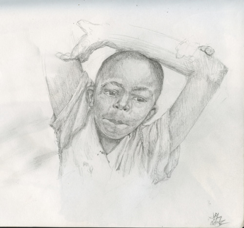 Zambian Boy, old pencil sketch