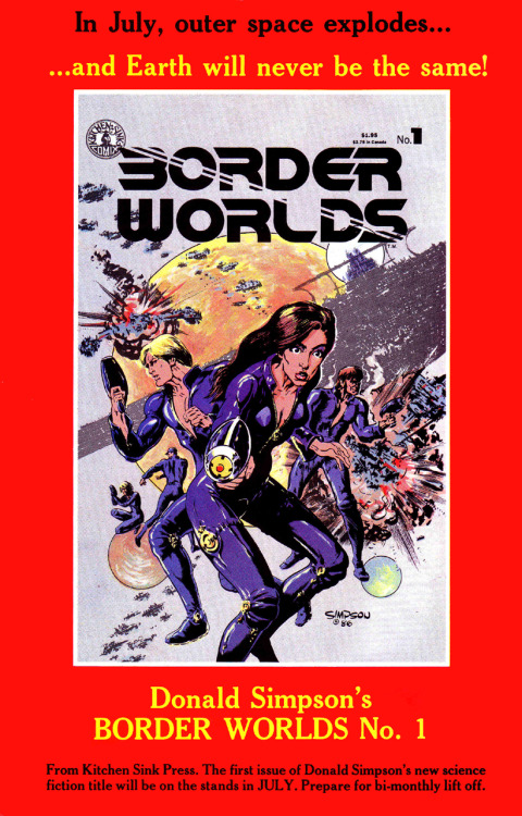 Promotional ad for Border Worlds #1 by Donald Simpson, 1986.