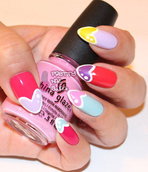 prettynailswag:  Another V-day mani inspired by Nailside's Cartoon Hearts…this time using 7 colours from the CG - Electropop Collection…love em alllllll