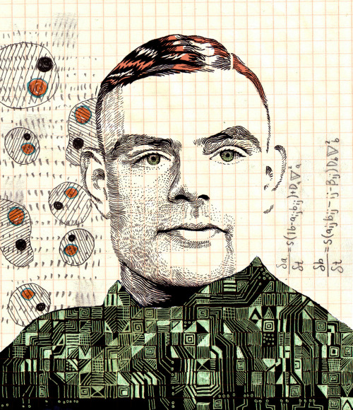 "hwilsonart:  Homage to Alan Turing (1912-1954) brilliant mathematician, WW2 code breaker, and father of modern computer science. Turing's life ended tragically, after being punished for his homosexuality and chemically castraded, he took his own life by taking a bite from an apple he had laced with cyanide. He was the first person to theorize about the possiblity of artificial intelligence (the Turing test), as well as mathematical equations that could describe biological processes, pattern formation in nature, and human intelligence.  ""Hyperboloids of wondrous Light Rolling for aye through Space and Time Harbour those Waves which somehow Might Play out God's holy pantomime"" ~ alan turing"