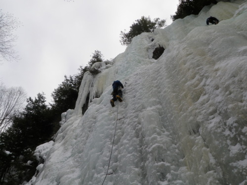 Wilderness Eduction student topping out on one of the many ice climbing routes during the 2011 Ice Climbing course.