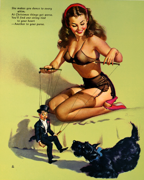 theniftyfifties:  Calendar pin up art by Gil Elvgren, December 1952.