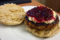 Turkey burger w/ leftover Béchamel sauce and cranberry jam. Pretty proud of myself though I really have no right to be.