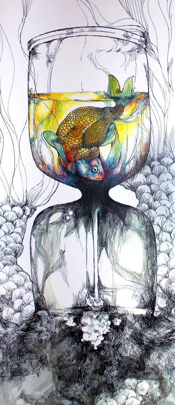 "fuckyeahpsychedelics:  ""Fish In An Hourglass"" by Talismaln"