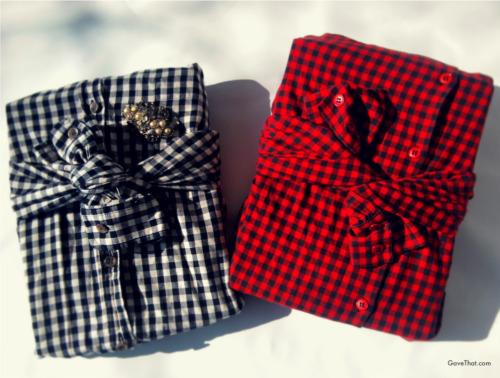 marieanakee:  Gift wrapping with shirts (they're folded Furoshiki style around the gift not cut so everything is reusable / wearable) - inspired by Jenn Playford