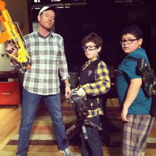 popculturebrain:  The greatest photo of Bryan Cranston, Nolan Gould, and Rico Rodriguez with Nerf guns you'll ever see. (via @StarringRico)