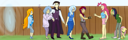 Group Commission - OC ponies made humans meet Shy's gang!  For the 20pc site/people http://twentypercentcooler.net/