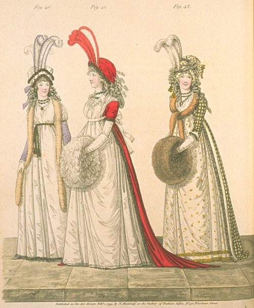 Gallery of Fashion, evening dresses, February 1795.  This fashion plate is wonderful, mostly because of the description.  The two dresses on the right are described as polonaise, known far and wide as the dresses with the rucked-up skirts.  Interesting…