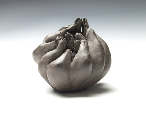 Debra Fleury: Succor, 2010. Dark Stoneware hollow form fired to cone 6 (neutral atmosphere). Dimensions 15 cm x 15 cm x 19 cm