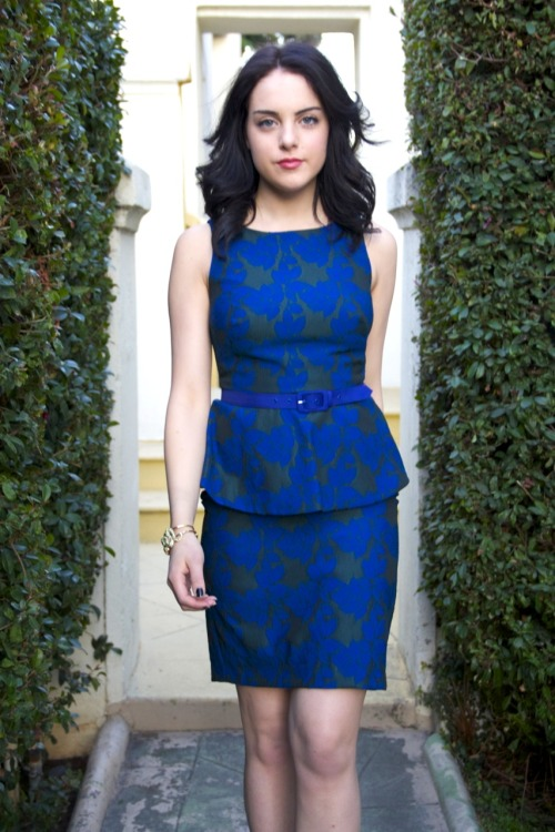 "Elizabeth Gillies, best known for her lead role on a very popular tv series ""Victorious"", is seen wearing Eva Franco!"
