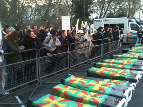 Kurds marching with make-believe coffins through the streets of London, Britain to dramatize the death of their loved ones in Roboski on December 28, 2011… More on this particular massacre…http://chn.ge/z52Ra9
