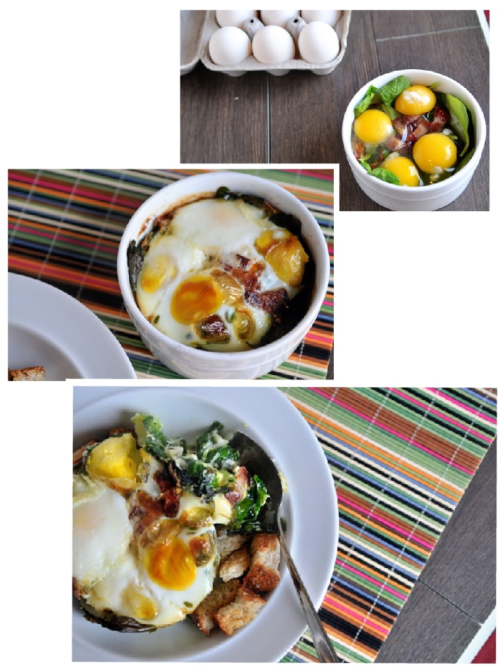 Spinach Egg and Bacon Bake  4 whole eggs 3-4 slices thick-cut bacon, cooked and chopped 1/2 cup loosely packed spinach 2 Tbsp cream 2 Tbsp butter, melted salt and pepper to taste 1/4 tsp thyme  Preheat oven to 375.   Spray an oven-safe ramekin with nonstick spray.   Pour cream and butter into the bottom of the dish.   Layer the spinach and bacon on top.  Gently crack each egg onto a fourth of the spinach/bacon.   Sprinkle with salt, pepper, and thyme.  Bake at 375 for 15-20 minutes until the yolks are where you like them (I know a LOT of people like them runny, and by all means…go for it!  Just keep in mind it will need to bake longer if you want/need them to be hard).   Serve hot!