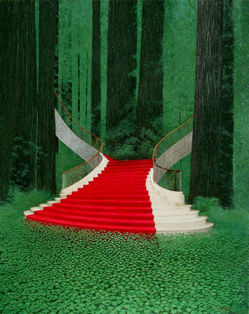 forwhenifeellikesharing:  Jerry Wayne Downs Psychoradiology - Staircase No. 3 I love that the steps can be seen beneath the water. the steps connecting with altar at the middle of water, to get marry soo romantic :3