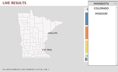 Follow live returns from Missouri's primary and Minnesota and Colorado's caucuses with these maps.