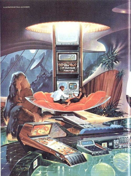 snuh:  headfullofid:spacecampband  Future Past Bachelor Pad   Built-in hot tub pinball. That is all.