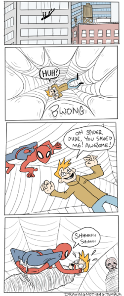 Spider-Man doing what he does best. herochan:  Spidey Created by Drawingnothing (via:drawingnothing)