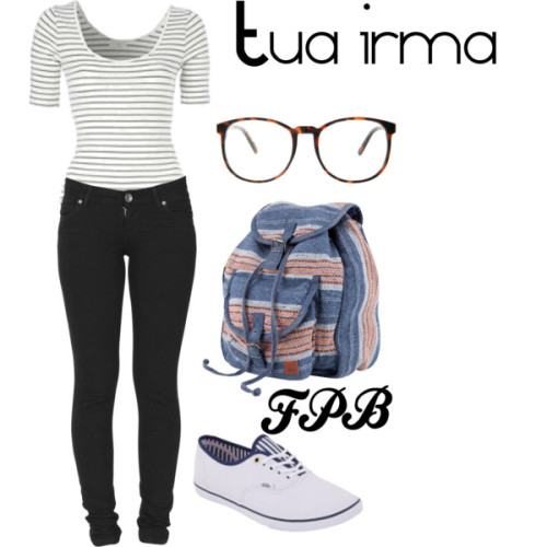 survivebeautiful:  Tua irmã by aninhhaas featuring buckle bags Top, £4Dr. Denim lightweight jeans, $129Van, $30Roxy buckle bag, $62ASOS see through shades, $17
