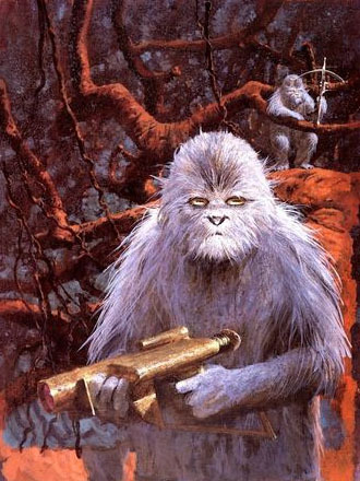 "Those aren't Wookiees, and that's not Kashyyyk.  This painting by John Schoenherr appeared in the July 1975 issue of Analog, illustrating the novelette ""And Seven Times Never Kill a Man"" by George R. R. Martin."
