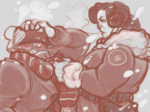 "starry-dawn:  dondondadadon:  ""Unhand me, woman!"" ""Will unhand if Soldier keep moving. Unhand, unleg, unhead…"" —- Heavies don't take your shit, now put on a fucking coat because you'll get sick in this goddamn weather. I have things to do but that doesn't stop me from sketching on the side as I get through requests. And I can whip out fluff faster than Nicki Minaj makes lyrics.  WHY DO I LOVE THIS SO MUCHHHH"