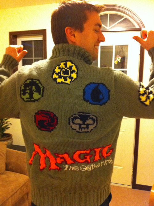 Man gets a Magic the Gathering sweater, custom made by his wife