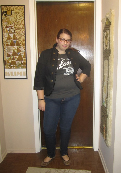 kittywitch9:  Fatshion February 4  Tee: Anheuser Busch factory in St Louis men's size XL and cut by me Jacket: Torrid size 1 Jeans: Source of Wisdom via Torrid size 2 Earrings: Torrid Bracelet: Gift shop in St. Martin Shoes: ShoeDazzle For more please visit my blog http://inbetween-fashion.com/