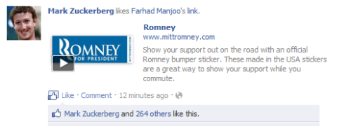 skidder:  Does Mark Zuckerberg really support Mitt Romney? (That link he liked goes here.) This showed up in my news feed (yes, I subscribe to his profile) but doesn't seem to appear on his profile. Mere months ago he was wearing a tie for Obama! Update: No, he doesn't. But this shows that even Mark Zuckerberg himself can have his intention confused in the Facebook News Feed.  How to piss off the Internet by simply removing essential context. A fascinating story worth a read from Gawker.