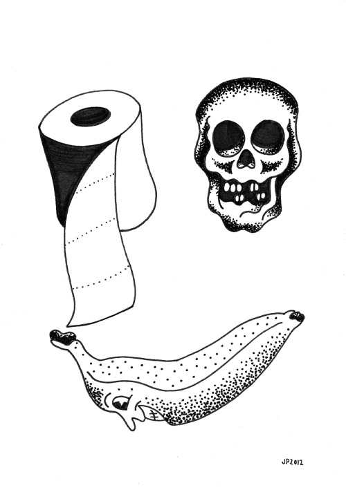 "BANANA SMILE, 5x7"", ink on paper, from Deadstock at Compound Gallery, February 2012."