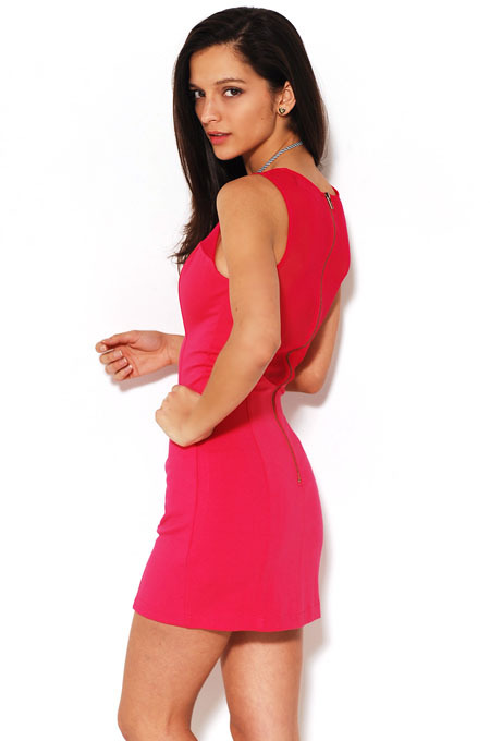 AKIRA Knit and Mesh Zip Back Dress in Hot Pink
