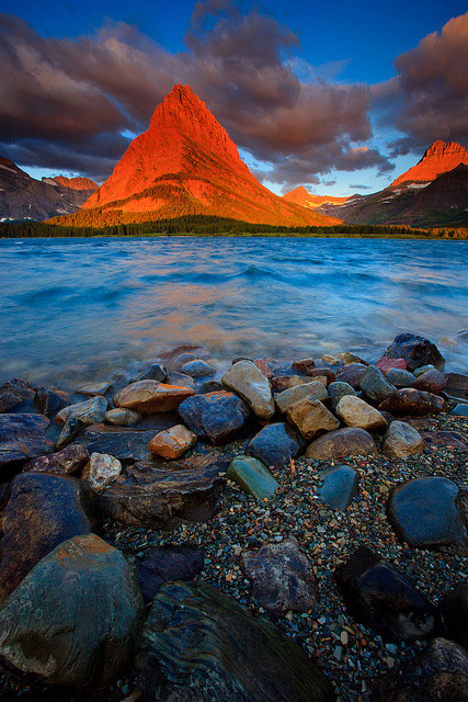 bluepueblo:   Sunset Peak, Glacier National Park, Montana photo by joedsilva