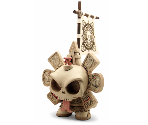 "8"" Ivory Warrior Skullendario Azteca collaboration between Huck Gee and the Beast Brothers [via: Collect3d] The apparently completely custom, hand-crafted 8"" figure blends the Calendario Azteca concept from The Beast Brothers with Huck's iconic Skullhead. As with several previous Beast Brothers' drops, Skullendario Azteca will offered as a timed edition. Starting on Saturday Feburary 18th 2012 @ 10 AM PST, orders will be accepted over at The Beast Brothers' web shop ($475 + shipping) for a full 24 hours. The edition size will be determined by the # of orders received within this window. More info @TheBeastBrothers.com"