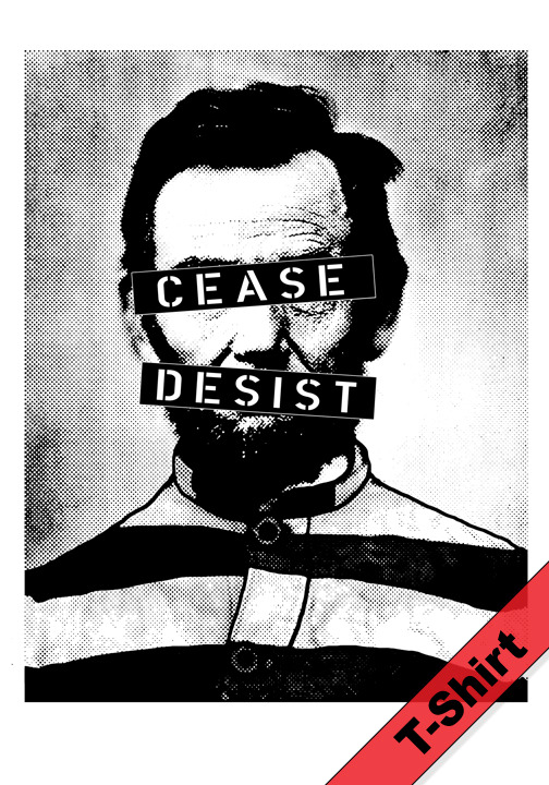"Meet Cease & Desist Abe. He is one of four very limited Abe inspired shirts available for the next few days on http://www.postwarscience.com Ted and I created these Abes to celebrate the birthday of old Honest Abe. Visit the site to view Roboabe, Abe Marx and Abe Lecter. All these shirts are limited to 22 prints each. Every shirt is printed and numbered by Ted and myself personally. That's right…this is what we enjoy doing in our spare time. Totally DIY. Anyhow, we're having a special on these Abes - buy one and get the second one for only $10! Mix n' match! Shipping is free in the US! Can't decide which Abe to get? Grab all four for only $75! We plan on doing more artistic interpretations like this in the future, so if Abe isn't your cup of tea (or your glass of chianti, in the case of Abe Lecter), sign up for our email and you'll get first dibs on future designs. -OK, I'm done with my gratuitous sales pitch. I figure it's Super Bowl Sunday and I'm allowed a commercial, right? Miles of smiles, Hunter postwarscience:  Apparently some people don't want us to exploit their ""likeness, renown style and distinctive look"" without their permission. Fair enough. Limited to 22 prints"