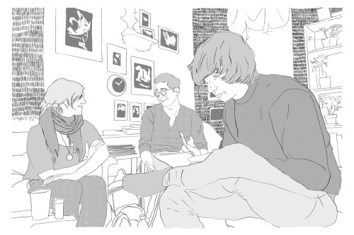 New York III. Hand drawn on a digital tablet. Strus 2012.Left to right: illustrators Adria, Marc, and Shane.