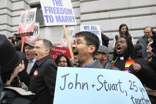 gaywrites:  Celebrations outside the courthouse after it was announced that Prop 8 was ruled unconstitutional.