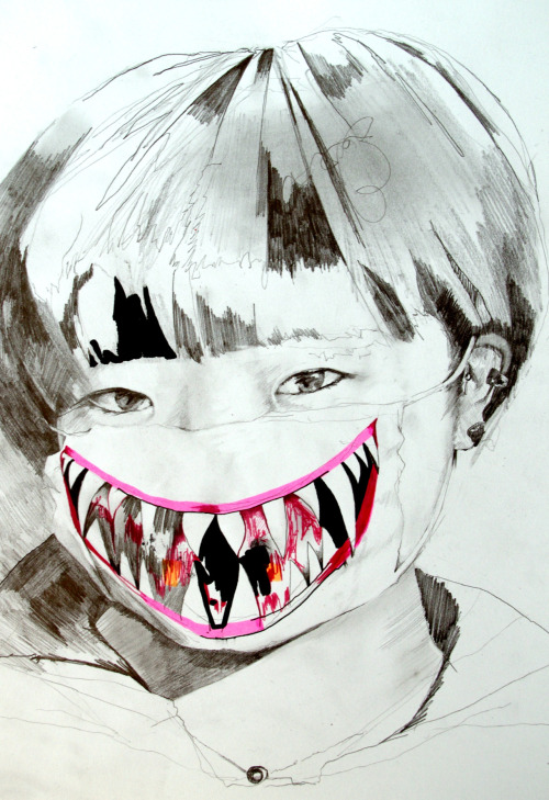 Masako Y., 2012, charcoal, acrylic, stabilo and ink on paper, size A4. Masako is a japanese woman who enjoys taking soft and somehow poetic pictures. This one seemed so expressive of another side of her, to the point it became fascinating. This is a picture of one of her close friend, Rio Homma. After contacting Masako, she agreed I make a drawing based on that picture. If you want to see some of her pictures, feel free to check her Flickr.