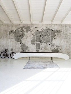 Map on concrete wall