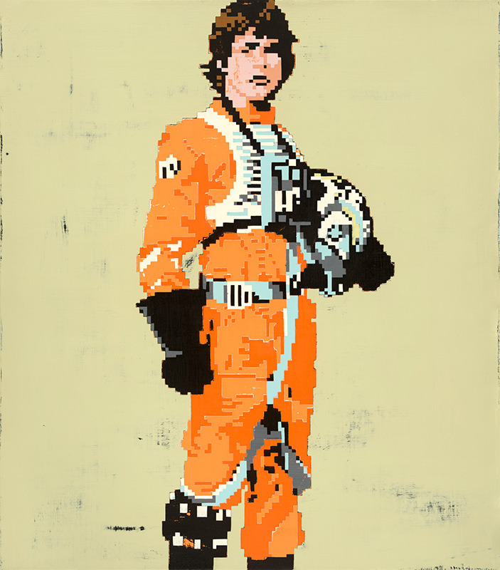 "You can buy Hollis Brown Thornton prints, including Luke Skywalker (seen above), on 20x200.com. The following is an interview with the artist from the timeofthethieves blog by Chilean architects Claudio Troncoso Rojas and María  Aparicio Puentes:       Time of The Thieves introduce you to Hollis Brown Thornton   TTT. What's your name?  H.B.T. Hollis Brown Thornton. TTT. Where were you born and where do you live?  H.B.T. I was born in Aiken, SC August 10, 1976. After college, I moved to Chicago, IL from 2000-2005, but returned to Aiken in 2005 to pursue my career as an artist full time.  TTT. What is your profession? H.B.T. Artist. TTT. When did you start being in illustration/collage and why?  H.B.T. I graduated college in 1999 with a major in studio art, so it started there from the sense of trying to survive making art.   TTT. What are your favorites artists or which artists have influenced your work?  H.B.T. Cy Twombly and Peter Doig have been the most influential established artists. On a more personal level, friends Vrno -http://vrno.tumblr.com/ [now deleted] and Roberto Calbucci -  http://robertocalbucci.tumblr.com/ TTT. What are the elements that inspire you in your work (images, feelings, music characters)? H.B.T. The late 1970s and early 80s.  The convergence of physical and virtual reality.   TTT. Can you tell us what you're looking to convey with your work?  H.B.T. I often use old photographs and outdated media, using elements of nostalgia, relating to how we sometimes have difficulty letting go of the past.   TTT. Have you ever exhibited and if you have, where has it been?  H.B.T. http://www.hollisbrownthornton.com/information/main.htm TTT. What music are you listening to? H.B.T. I am streaming Neon Indian's new album on NPR. TTT. Which websites do you like? H.B.T. I like any good music site, like alterdzones.com, that streams new good music. TTT. What are you reading now?   H.B.T. Nothing at the moment. TTT. What is your favorite place?  H.B.T. My family's lake house.  TTT. Can you tell us in what circumstances you made this collage?  H.B.T. It isn't technically a collage.  All of the work was done in Photoshop and then made into a pigment transfer.  I use a lot of old family photographs, which is one of the reasons I obscure identities, I want the person to be anyone.   TTT. If you could associate this image with a song, which would it be?  H.B.T. Sleigh Bells ""Rachel"". TTT. What do you feel when you look at this collage? H.B.T. I love the sweater.  I always focus on the sweater."